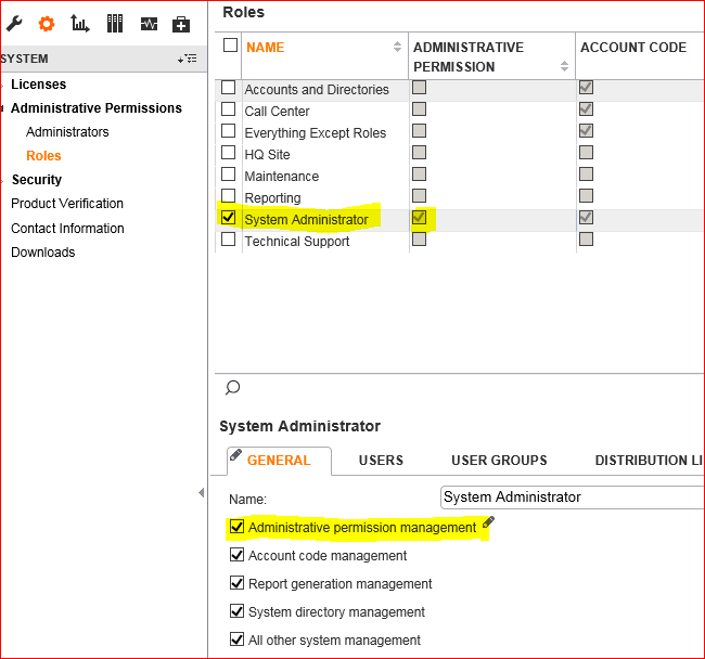 Unable to See Administrative Permissions Setting in Director