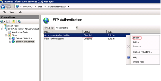 How to set FTP write permission on a Shoreware Server running